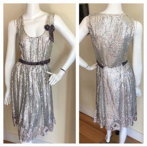 Miu Miu silver sequined midi dress